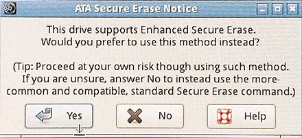 Enhanced Secure Erase選択画面